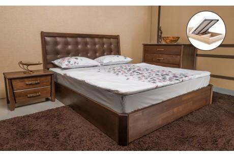 Кровать деревянная Олимп Сити Премиум с мягкой спинкой (с подъемной рамой)