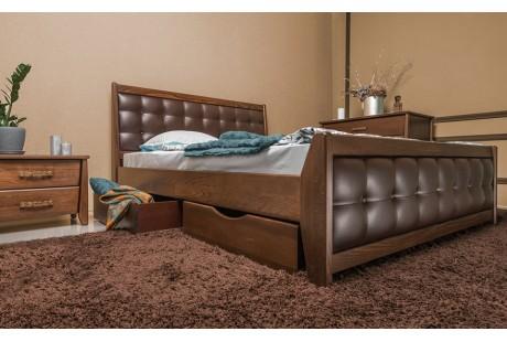 Кровать деревянная Олимп Сити Премиум с мягкой спинкой (с ящиками)