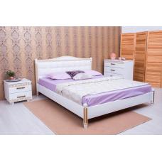 Кровать деревянная Олимп Прованс (с мягкой спинкой, патиной, фрезеровкой, квадраты)