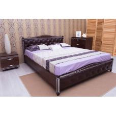 Кровать деревянная Олимп Прованс (с  мягкой спинкой, патиной, фрезеровкой, механизмом, ромбы)