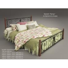 Кровать металлическая Tenero Крокус на деревянных ногах